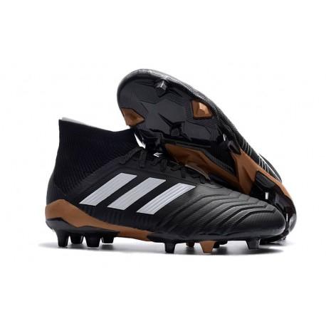 Nouvelles Crampons Football adidas Predator 18.1 FG Noir Blanc Or