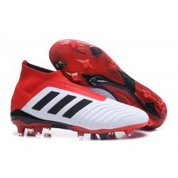 Nouvelles Crampons Foot adidas Predator 18+ FG Blanc Noir Rouge