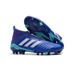 Nouvelles Crampons Foot adidas Predator 18+ FG Bleu Blanc