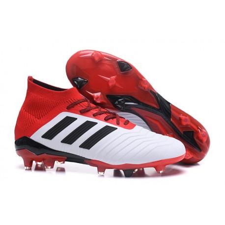 Nouvelles Crampons Football adidas Predator 18.1 FG Blanc Noir Rouge