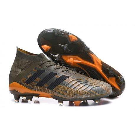 Nouvelles Crampons Football adidas Predator 18.1 FG Olive Noir Orange Vif