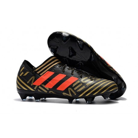 Chaussures de Football 2018 Adidas Nemeziz Messi 17.1 FG Noir Or Orange