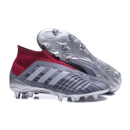 Nouvelles Crampons Foot adidas Predator 18+ FG Pogba Gris Rouge