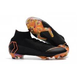 Nouveau Chaussures de football Nike Mercurial Superfly VI 360 Elite FG Noir Orange Total Blanc