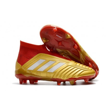 Nouvelles Crampons Foot adidas Predator 18+ FG Or Rouge Blanc