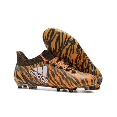 Chaussures de Football pour Hommes - Adidas X 17.1 FG Orange Vif Olive