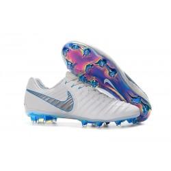 Campons Foot pour Hommes Nike Tiempo Legend VII Elite FG Blanc Gris Métallique Bleu Héros