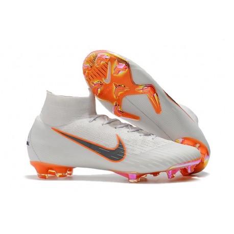 wholesale dealer d0abd ee8e9 Nouveau Chaussures de football Nike Mercurial Superfly VI 360 Elite FG  Blanc Gris Métallique Orange Total