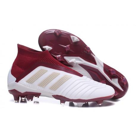 Nouvelles Crampons Foot adidas Predator 18+ FG Blanc Rouge