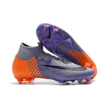 Nouveau Chaussures de football Nike Mercurial Superfly VI 360 Elite FG Violet Orange Noir