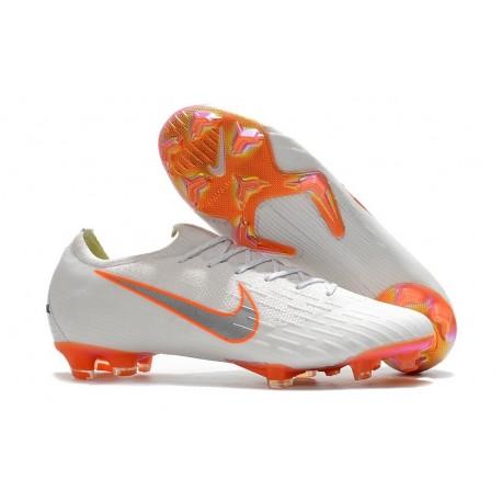Chaussures de Football - Nike Mercurial Vapor XII Elite FG Blanc Gris Métallique Orange Total