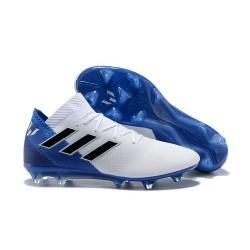 Crampons Foot pour Hommes Adidas Nemeziz Messi 18.1 FG Blanc Bleu