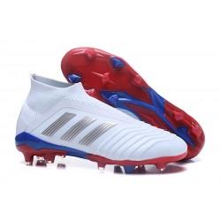 Nouvelles Crampons Foot adidas Predator Telstar 18+ FG Argent Rouge Bleu