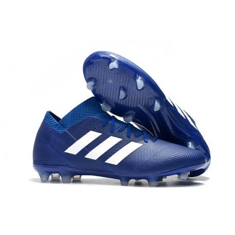Crampons Foot pour Hommes Adidas Nemeziz Messi 18.1 FG Bleu Blanc