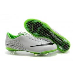 Nike Mercurial Vapor IX FG Terrain Sec Chaussure Homme Blanc Noir Vert Réfléchissant