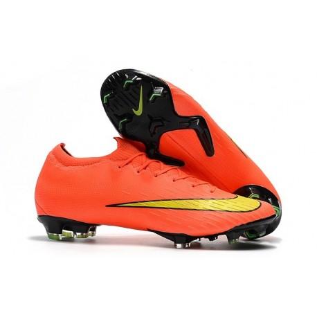 Chaussures de Football - Nike Mercurial Vapor XII Elite FG Noir Orange Total Blanc
