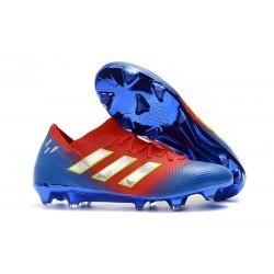 Crampons Foot pour Hommes Adidas Nemeziz Messi 18.1 FG Rouge Bleu Argent