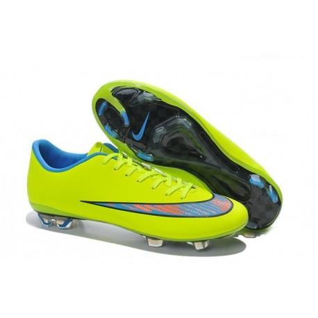 2014 Crampons de Foot Nike Mercurial Vapor X FG Homme Jaune Bleu