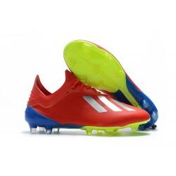 Nouveau Chaussures de football Adidas X 18.1 FG - Argent Rouge