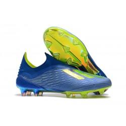adidas X 18+ FG - Chaussures de Football Adidas Bleu Jaune Noir